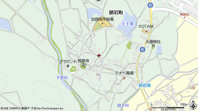 〒675-2332 兵庫県加西市鎮岩町の地図