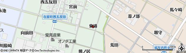 愛知県岡崎市在家町(東浦)周辺の地図
