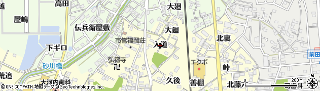 愛知県岡崎市福岡町(入道)周辺の地図