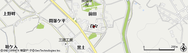 愛知県岡崎市竜泉寺町(百々)周辺の地図