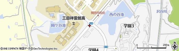 兵庫県三田市学園周辺の地図