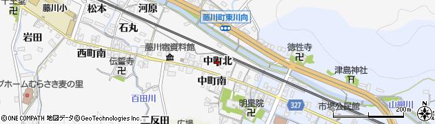 愛知県岡崎市藤川町(中町北)周辺の地図