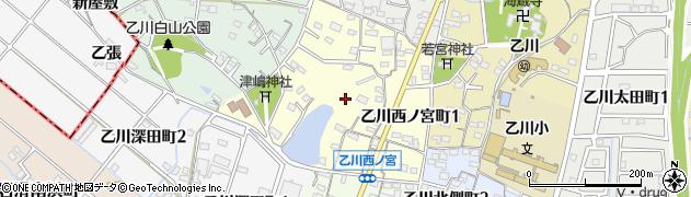 愛知県半田市乙川西ノ宮町周辺の地図