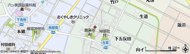 愛知県岡崎市在家町(上五反田)周辺の地図