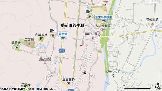 〒671-2134 兵庫県姫路市夢前町菅生澗の地図