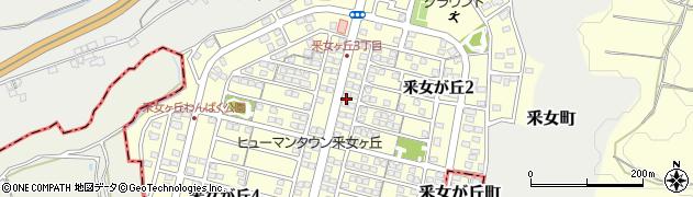 三重県四日市市釆女が丘周辺の地図