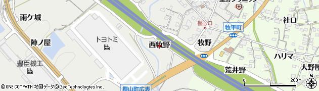 愛知県岡崎市樫山町(西牧野)周辺の地図