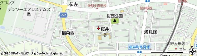 愛知県安城市桜井町(稲荷東)周辺の地図