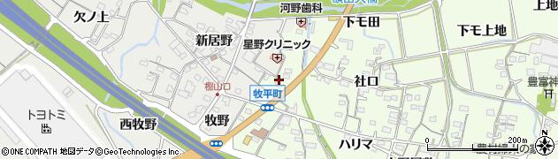 愛知県岡崎市牧平町(カイバク子)周辺の地図
