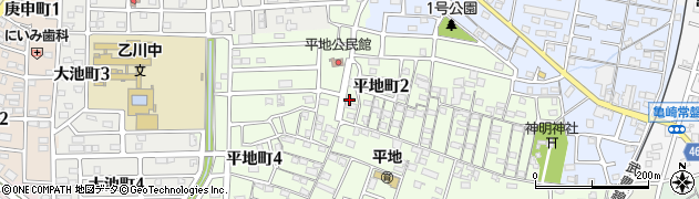 愛知県半田市平地町周辺の地図