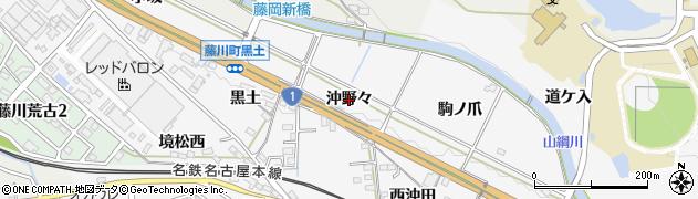 愛知県岡崎市藤川町(沖野々)周辺の地図