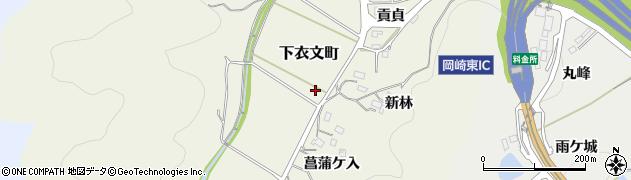 愛知県岡崎市下衣文町(横枕)周辺の地図