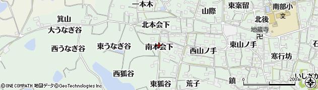 愛知県知多郡阿久比町植大南本会下周辺の地図