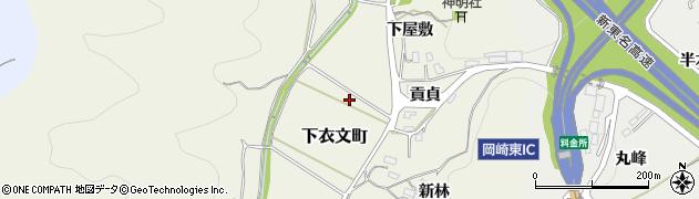 愛知県岡崎市下衣文町(開戸田)周辺の地図