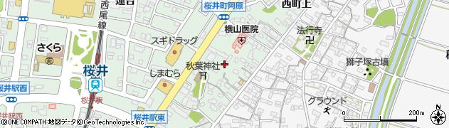 愛知県安城市桜井町(西町中)周辺の地図