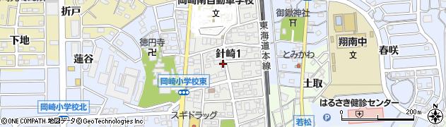 愛知県岡崎市針崎周辺の地図