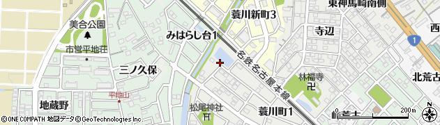 愛知県岡崎市蓑川町(阿知川原)周辺の地図