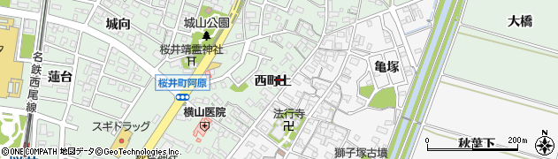 愛知県安城市桜井町(西町上)周辺の地図