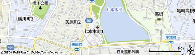 愛知県半田市七本木町周辺の地図