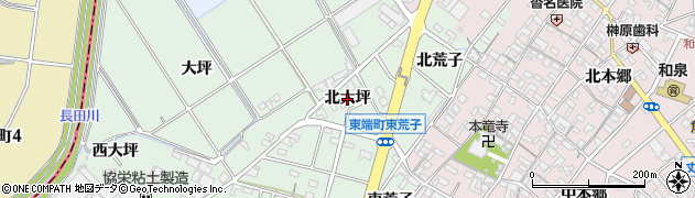 愛知県安城市東端町(北大坪)周辺の地図