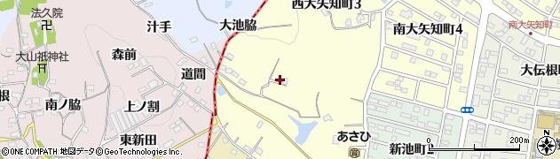 愛知県半田市西大矢知町周辺の地図