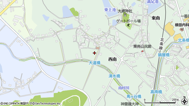 〒675-2323 兵庫県加西市北条町西南の地図