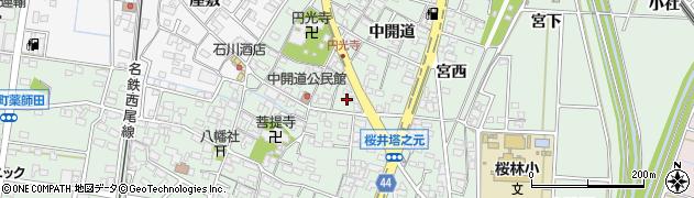 愛知県安城市桜井町(寒池)周辺の地図
