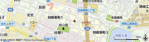 愛知県岡崎市羽根東町周辺の地図