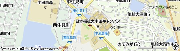 愛知県半田市東生見町周辺の地図