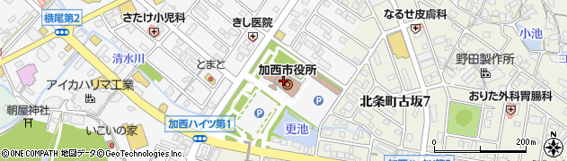 兵庫県加西市周辺の地図