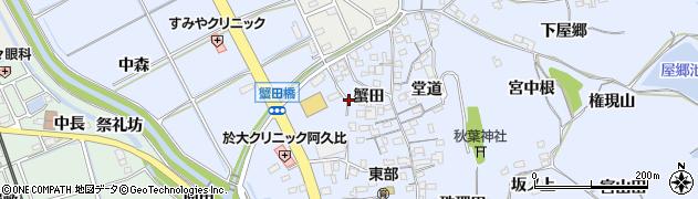 愛知県知多郡阿久比町宮津蟹田周辺の地図