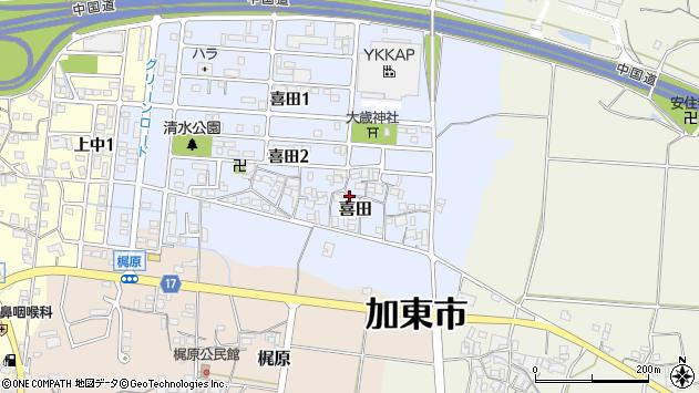 〒673-1465 兵庫県加東市喜田の地図