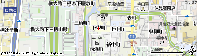 京都府京都市伏見区下中町周辺の地図
