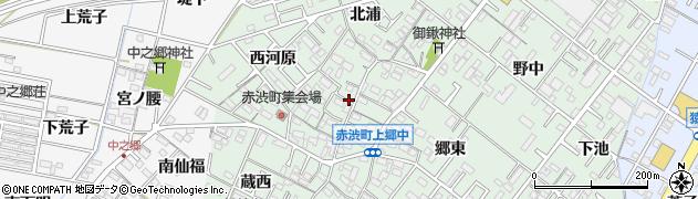 愛知県岡崎市赤渋町(上郷中)周辺の地図
