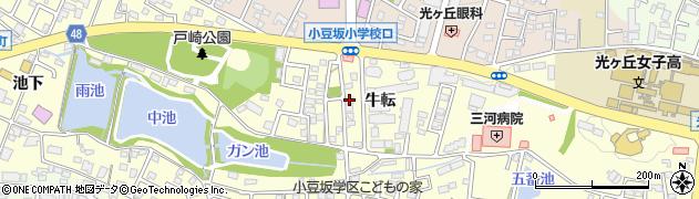 愛知県岡崎市戸崎町(牛転)周辺の地図
