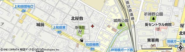 愛知県岡崎市上和田町(北屋敷)周辺の地図