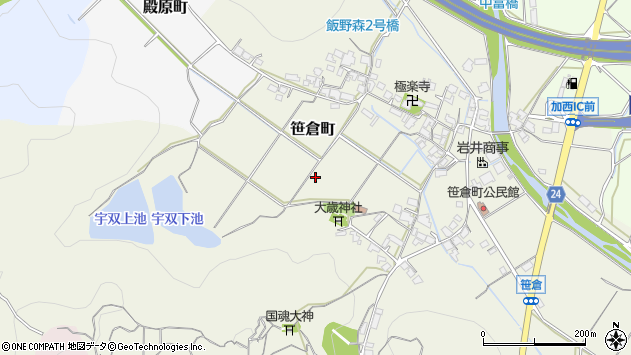 〒675-2443 兵庫県加西市笹倉町の地図
