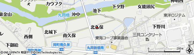 愛知県岡崎市岡町(北久保)周辺の地図