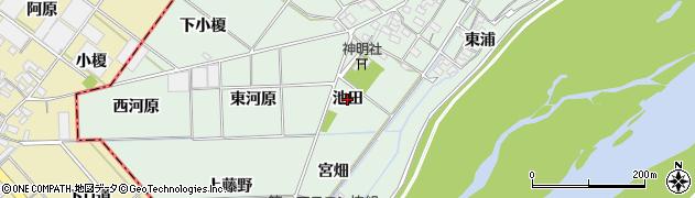 愛知県岡崎市下佐々木町(池田)周辺の地図