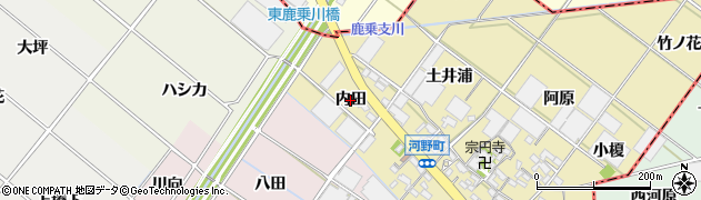愛知県安城市河野町(内田)周辺の地図