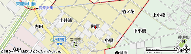 愛知県安城市河野町(阿原)周辺の地図