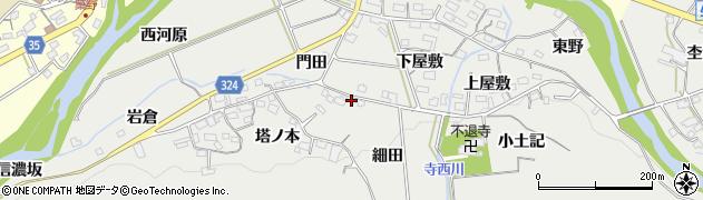 愛知県岡崎市生平町(細田)周辺の地図