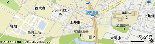 愛知県岡崎市大平町(土井東)周辺の地図