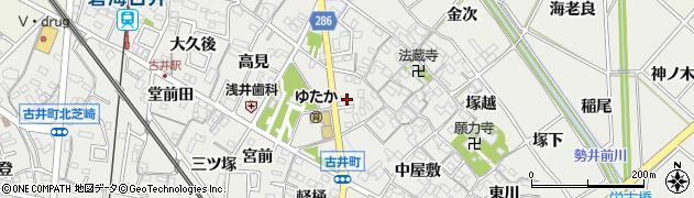 愛知県安城市古井町(豊日)周辺の地図