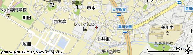 愛知県岡崎市大平町(東大森)周辺の地図