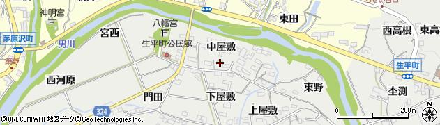 愛知県岡崎市生平町(中屋敷)周辺の地図
