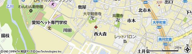 愛知県岡崎市大平町(西大森)周辺の地図
