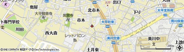 愛知県岡崎市大平町(市木)周辺の地図