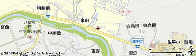 愛知県岡崎市茅原沢町(東田)周辺の地図