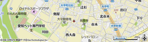 愛知県岡崎市大平町(辻重)周辺の地図
